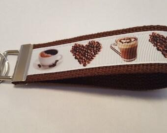 "Coffee Cafe Latte Frappe Coffee Mocha Cappuccino Lovers Hearts Beans 6"" Key FOB Keychain Wristlet Grosgrain Ribbon Heavy Cotton Webbing"