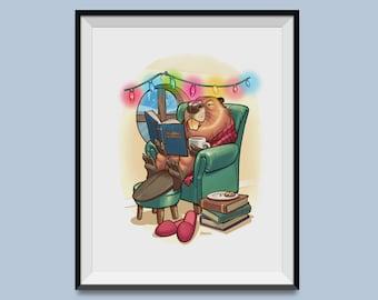 "Holiday Hygge Beaver 8"" x 10"" Print"