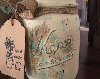Shabby Chic Mason Jar Centerpiece