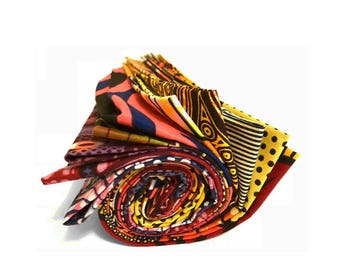 10 FAT QUARTERS of Ankara African fabric 100% cotton,  quilting material