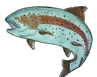 Rainbow Trout Fish / Giclée Art Print / Wildlife Art / Watercolor Print