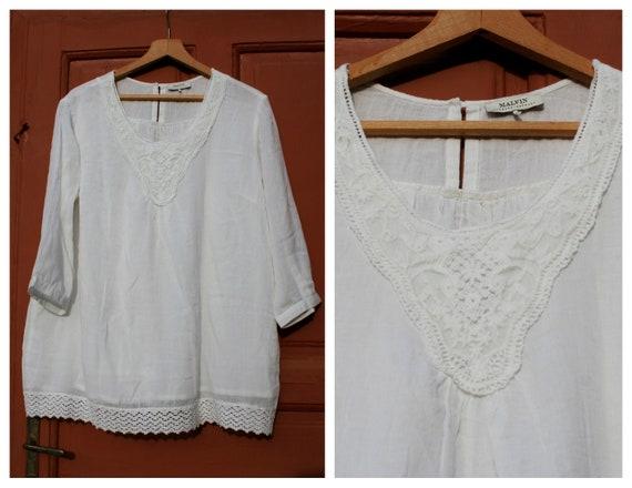 1a807f07d7e Vintage lace blouse Vintage white blouse top women large