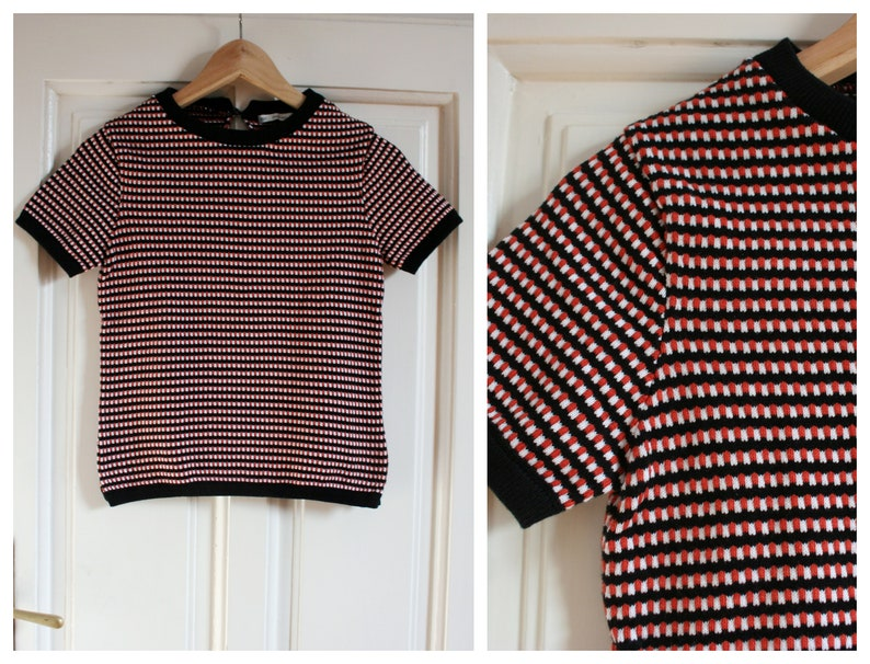 5d36dd84551 Vintage short sleeve knit sweater top women, Black white brick red knit  top, 90's knit top, knitted top small