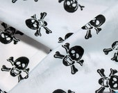 POLY COTTON FABRIC - Skull Crossbones (Black on White) - halloween fabric