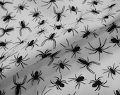 Poly Cotton Fabric - Incy Wincy Black Spider on WHITE - halloween fabric