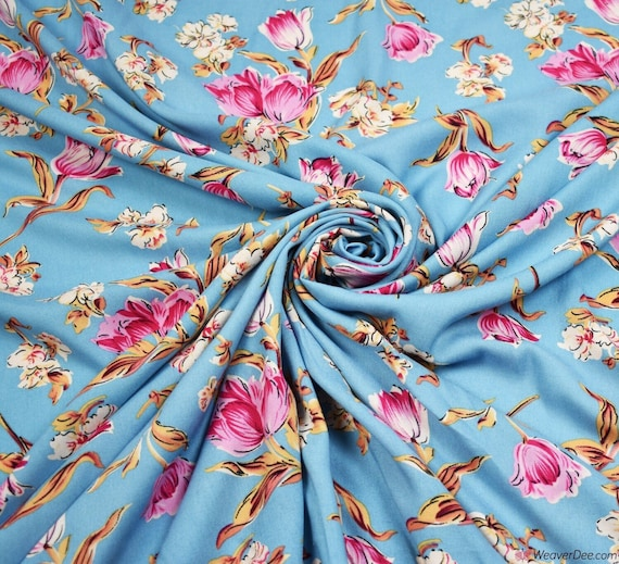 Viscose print dress fabric soft drape by the 1//2 meter