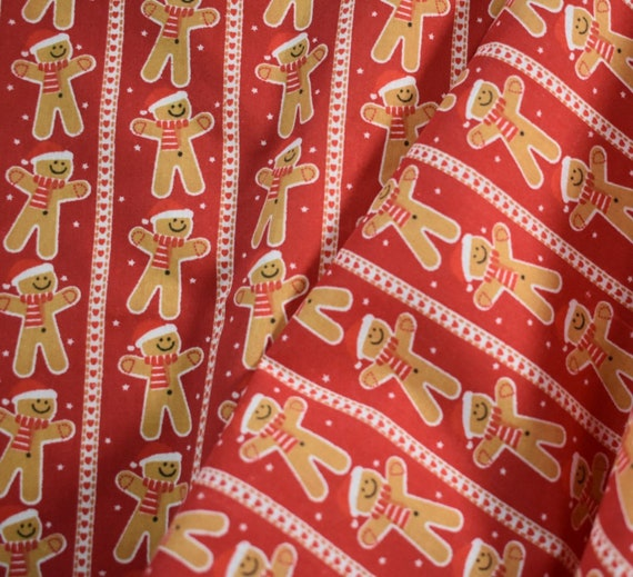 PolyCotton Fabric Kids Gingerbread Christmas Reduced Prices Metre NEW