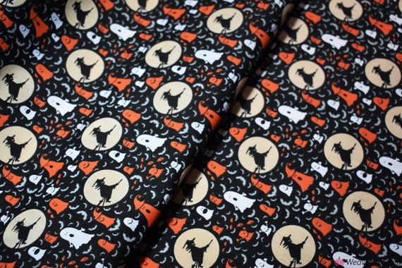 Polycotton Fabric by the metre Halloween Black Spiders On Orange