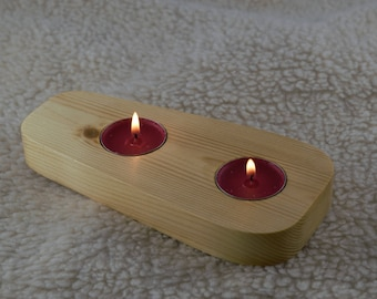Handmade unique home decor natural rustic driftwood log tea light candle holder mather's day gift