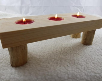 Handmade unique home decor natural rustic pine&driftwood log tea light candle holder