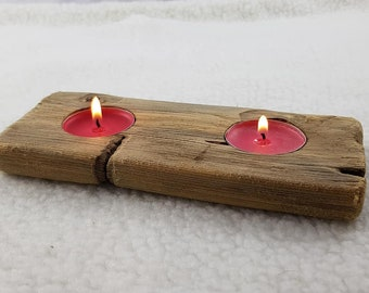Handmade unique home decor natural rustic driftwood log tea light candle holder