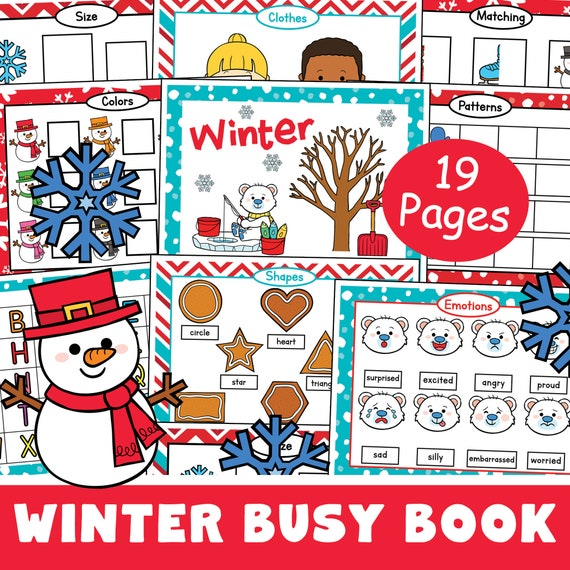 Winter Busy Book Printable Toddler Quiet Book page busy