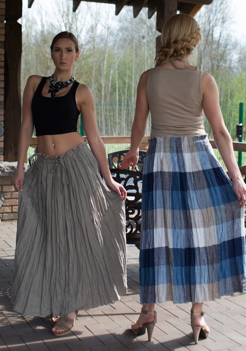 Maxi linen pleated skirt in freestyle style paper bag style  LINDA 7