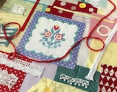 Slow Stitch Fabric Pack German Folk Images with Vintage Fabrics Hand Stitching Wabi Sabi Art Collage Crazy Quilt