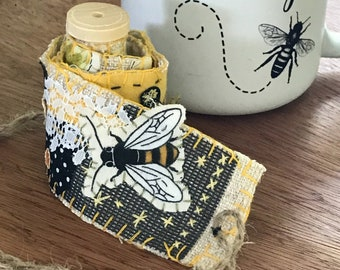 Slow Stitch Kit Bee Honeybee Spool Pack Snippet Roll Mixed Media Collage Art Bobbin