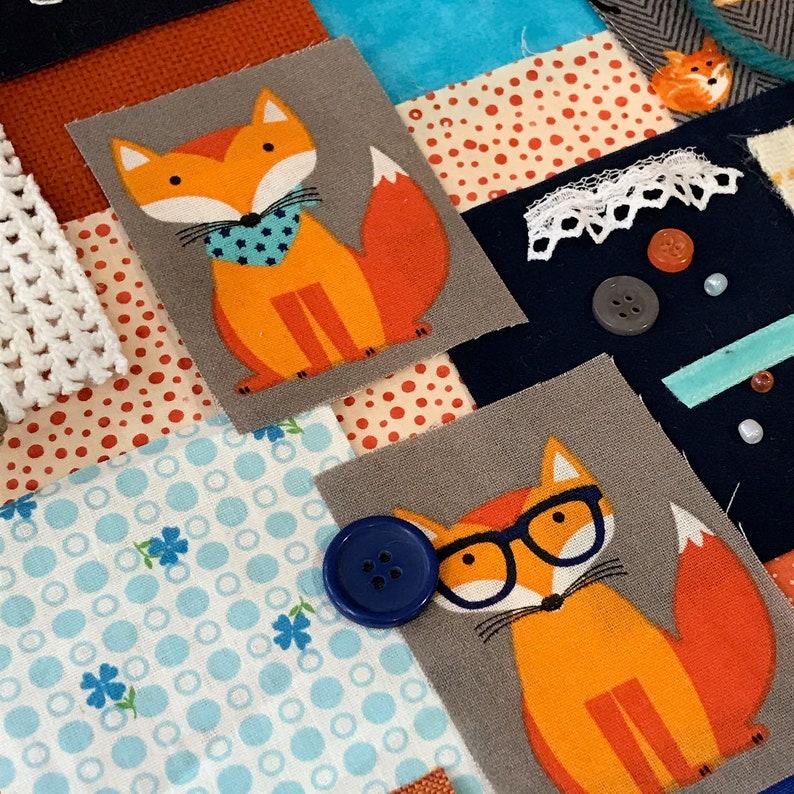 Slow Stitch Fabric Pack Foxy Friends Junk Journal Art Collage Multimedia