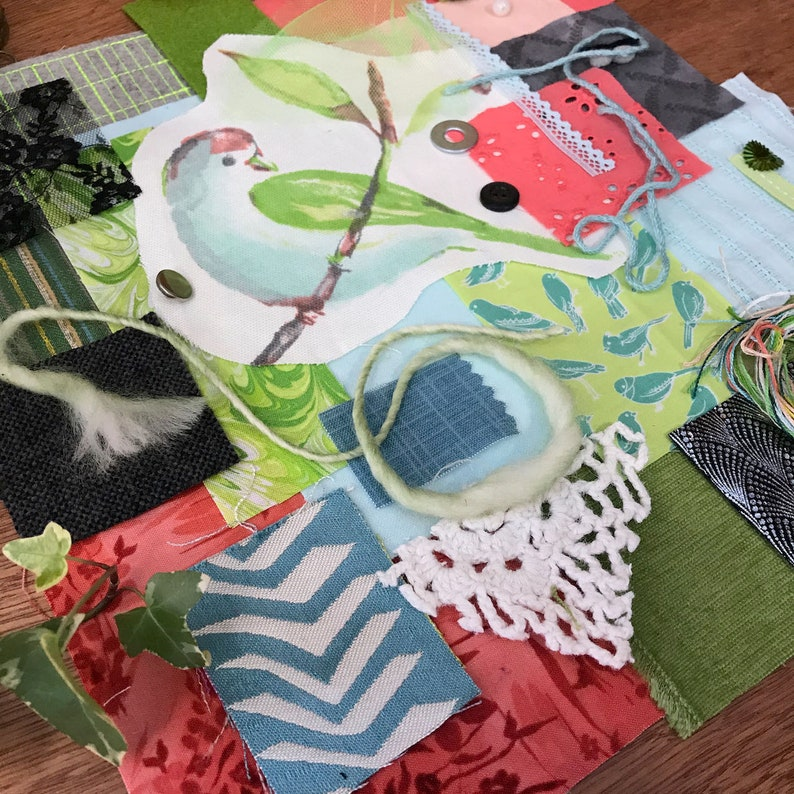 Watercolor Bird w Green Wing Fabric Pack Hand Stitching Junk Journal Art Collage Slow Stitch Kit