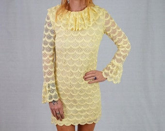 f99afb38449 Vintage Yellow Lace Dress