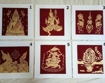 Vintag Thai Handmade Lucky Turtle Silk Screen Decor Make Money Art Picture Wall