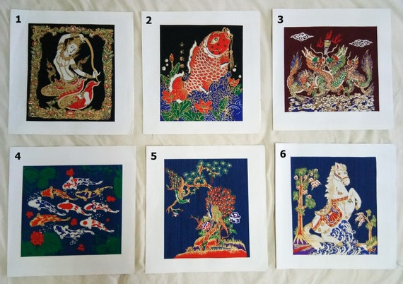 Thai Handmade Lucky Lucky 9 Carp Silk Screen Decor Make Money Art Picture Wall
