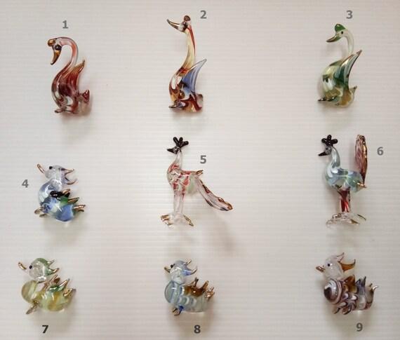 Swan Blowing Glass Miniature Animal Handmade Figurine Fancy Collectible Decor 2