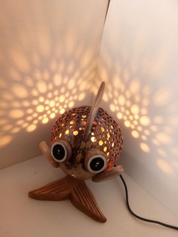 Table Lamp Bedside Desk Decor Frog Thai Handmade Coconut Shell Wood Free Ship