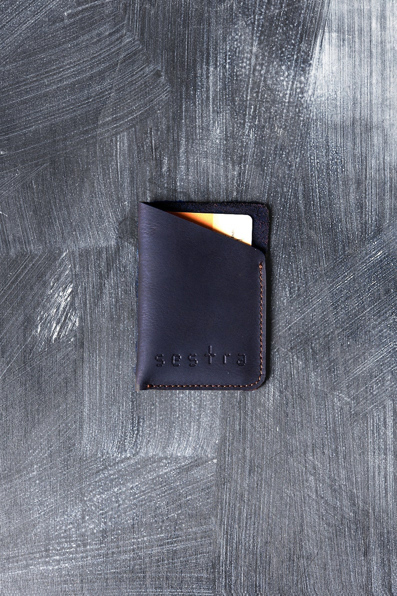 113e63247321e Blue leather sleeve credit card sleeve leather card holder
