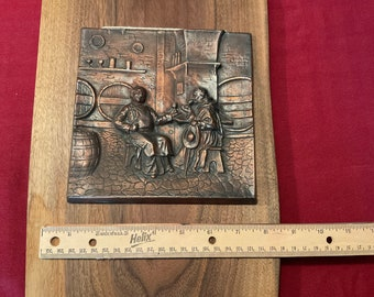 Copper Plaque   Monks with Beer