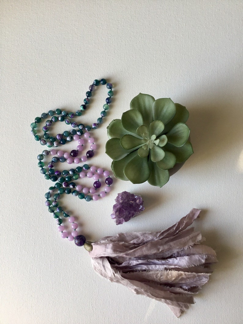 108 Bead Mala Necklace  Hand Knotted Necklace  Lotus Moon Jewels  Beaded Necklace  Beaded Jewelry  Mala Bead Necklace