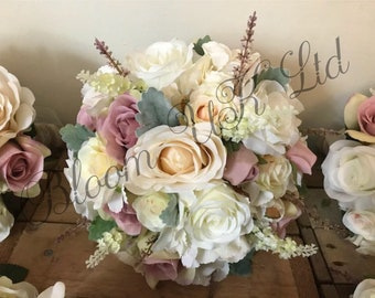 Bridesmaid bouquets etsy artificial wedding flowers roses bridal bouquet bridesmaids bouquets maid of honor grooms buttonhole groomsmen buttonholes silk mightylinksfo