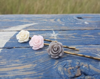 3 hair pin set ivory, pale pink, and gray