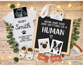 Editable Pregnancy Announcement for Social Media, Pet Pregnancy announcement 2-4 dogs, Mum & Dad are getting us a Human, Custom Announcement