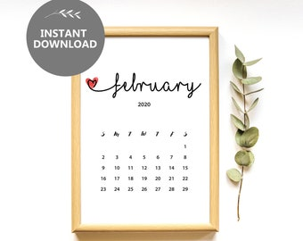 Book It Calendar February 2020 March 2020 Calendar Instant Download Pregnancy Announcement | Etsy