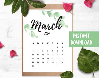 March 2019 Calendar Etsy