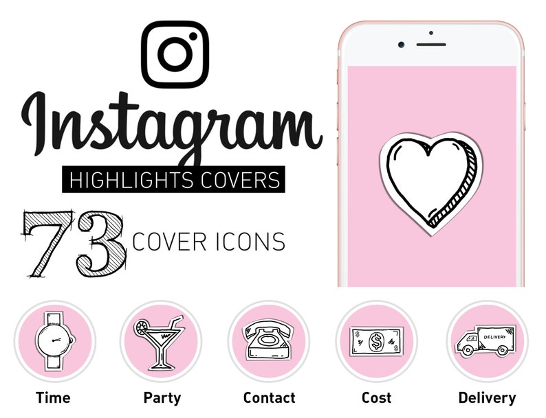 Instagram Storia Evidenzia Icons Set Di 73 Ig Storia Di Icone Etsy