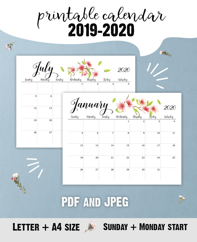 picture regarding Printable School Year Calendar named Printable 2019-2020 College or university 12 months Calendar, Floral Table Calendar for trainer, JULY 2019 - DEC 2020, Immediate obtain PDF
