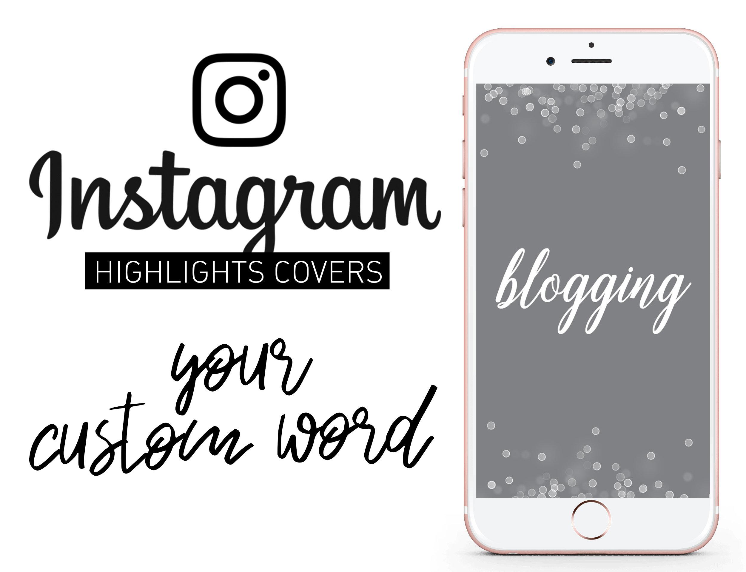 CUSTOM ORDER Instagram Story Highlights Icons Set of 10 ig story icons,  Hand Lettered Script Text for instagram design
