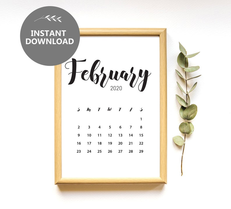 February 2020 Printable Calendar Cute.February 2020 Calendar Instant Download Pregnancy Announcement Monthly Calendar Planner Baby Due Date Printable Calendar