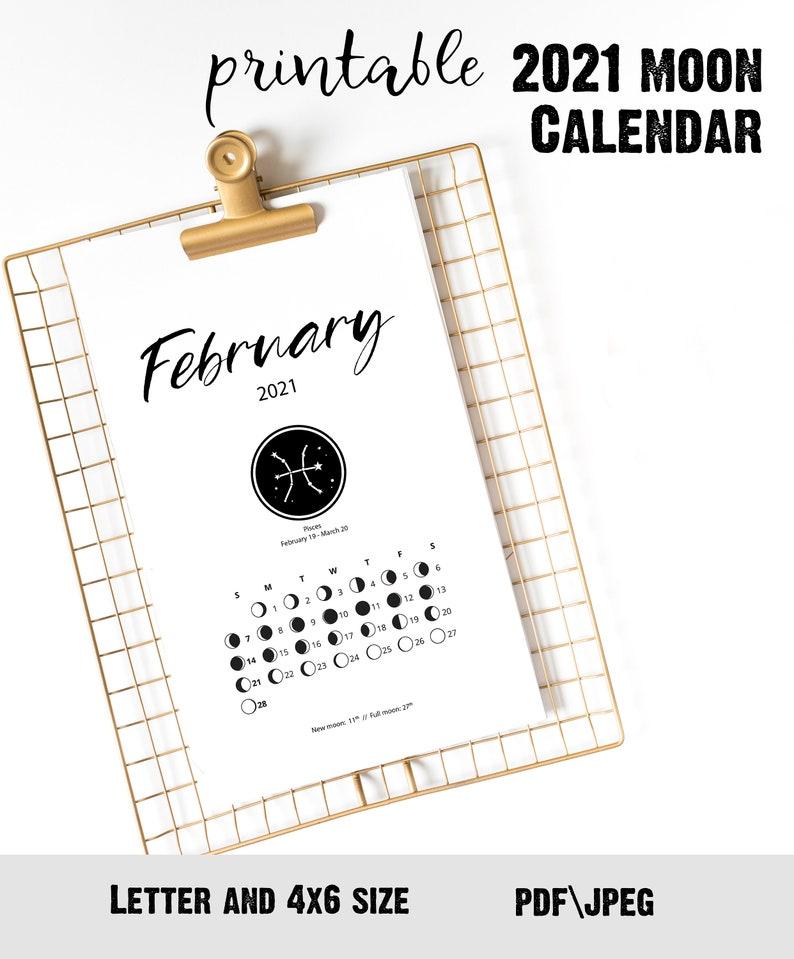 2021 Printable Moon Calendar Сute desk accessory for ...