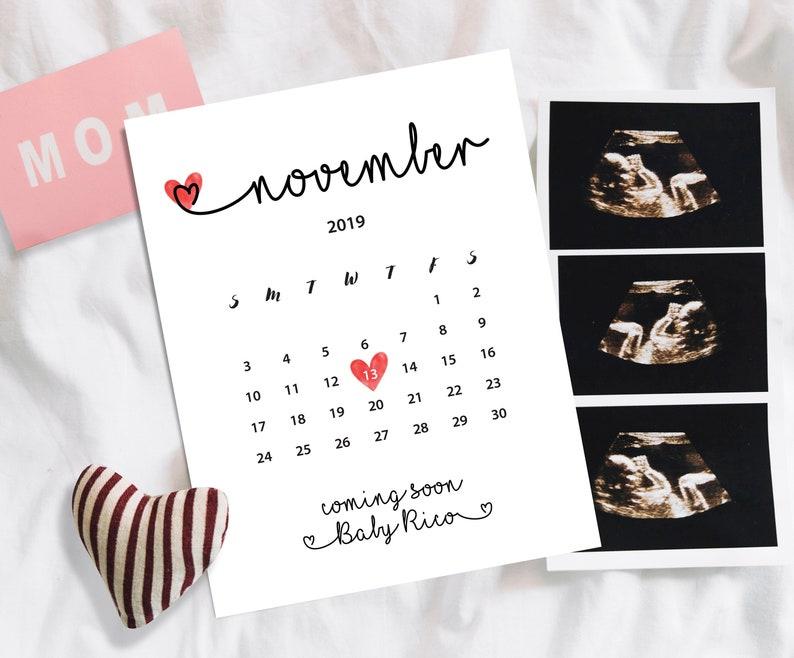 afd5cf654 November 2019 pregnancy announcement Baby due date calendar   Etsy