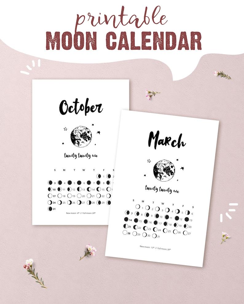 2021 Printable Lunar Calendar moon phase calendar for | Etsy