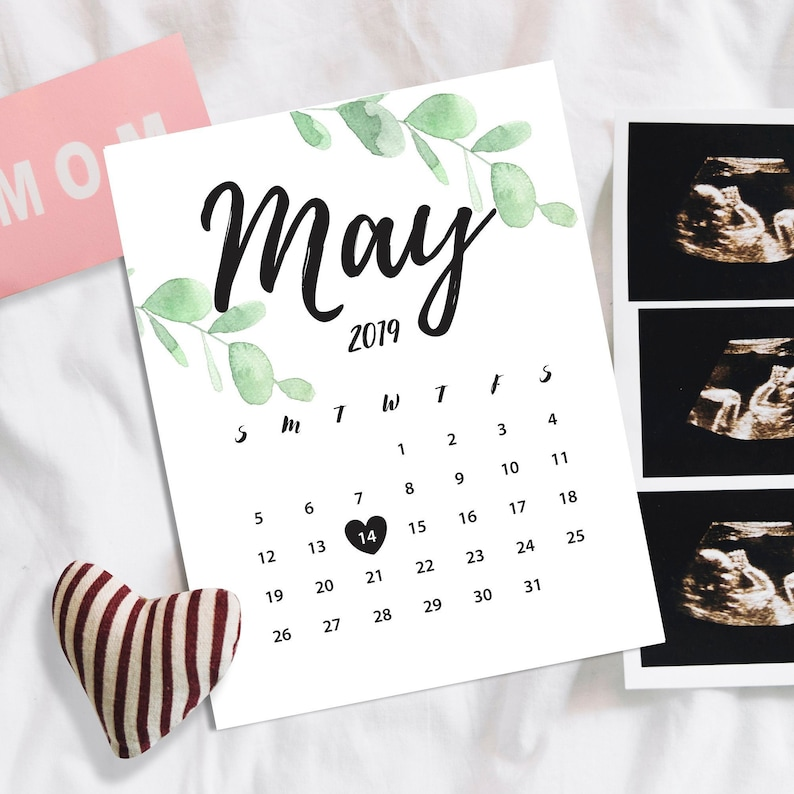 Birthday Printable Calendar Baby due date calendar gift due date May 2019 pregnancy announcement Expecting in 2019 Social medi\u0430