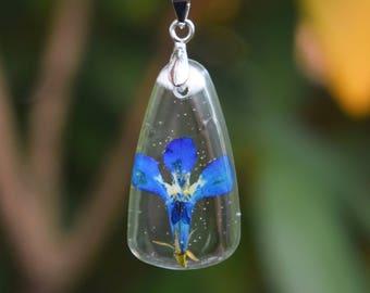 Real Flower Necklace / Real Blue Lobelia Flower Necklace / Anniversary Necklace / Real Flower Resin Jewelry