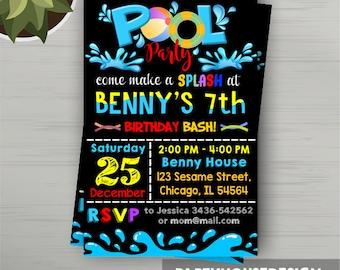 Pool Party Invitation, Pool Party Birthday Invitation, Pool Party, Pool, Pool Party Party Favors, Pool Party Birthday, Pool Party Printables