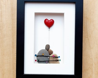 Christmas couple, First Christmas together, Christmas anniversary gift, Pebble art picture, Christmas couple picture with red heart, Xmas