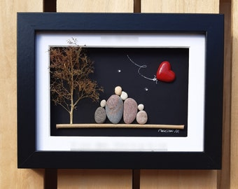 Family ruby wedding anniversary, 40th anniversary picture, Ruby anniversary family gift, Pebble art picture, 40th anniversary with red heart