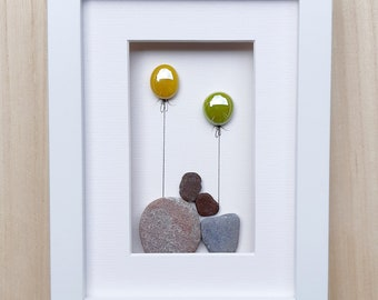 Couple with balloons, Love you picture, Birthday gift, Pebbleart for couple, Anniversary gift, Wedding present, Valentine pebble decoration
