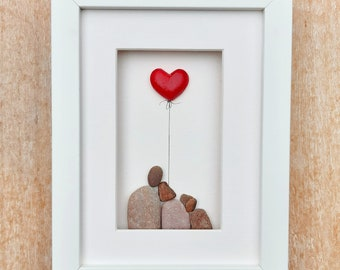 Couple with dog, Ruby wedding anniversary, 40th anniversary picture, Ruby anniversary red heart gift, 40th wedding anniversary gift with dog