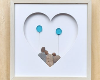 Family of 3 with balloons, Love you picture, Birthday gift, Family of three, Anniversary gift, Wedding present, Valentine pebble decoration
