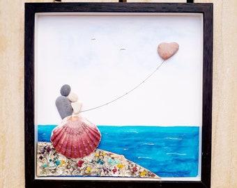 Anniversary love gift, Wedding pebble picture, Wedding present, Wedding gift, Together pebble picture, Pebble frame gift, Picture about love